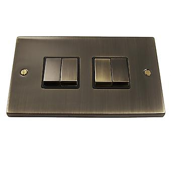 Causeway 4 Gang Ingot Light Switch, Antique Brass