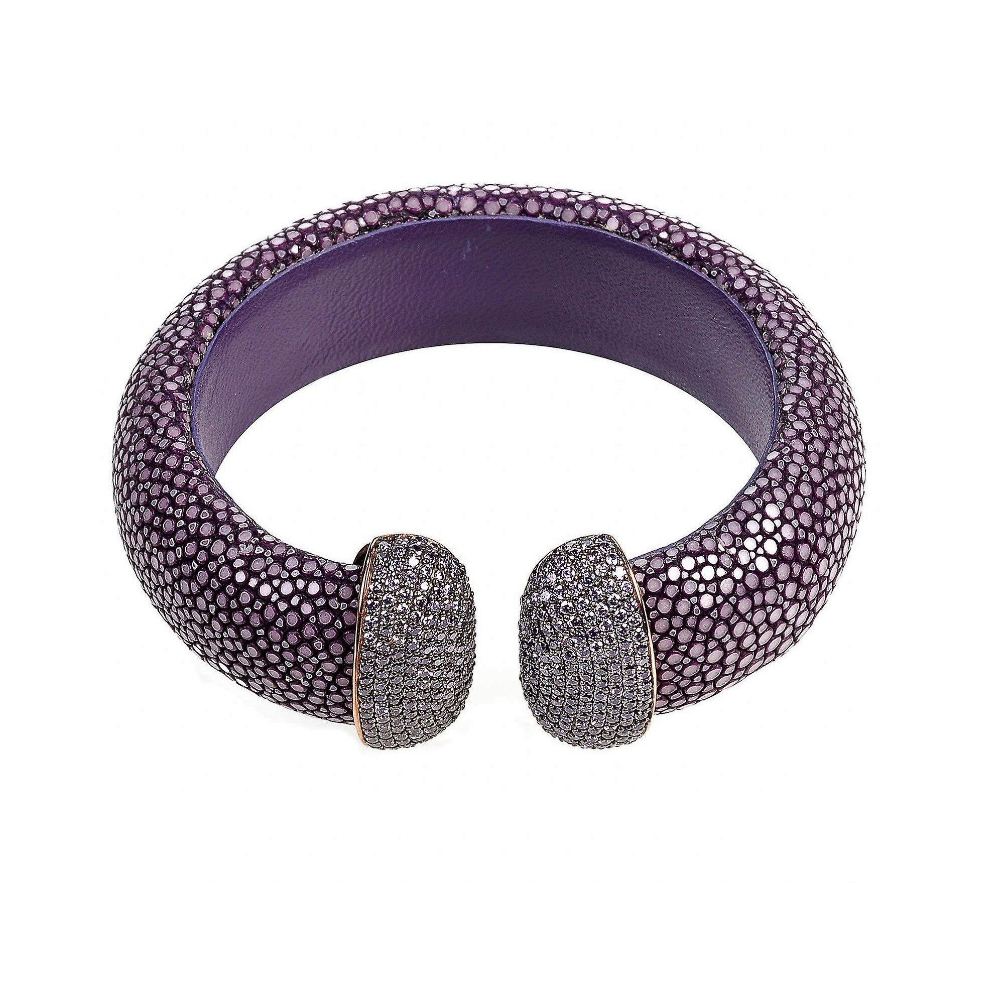 925 Sterling Silver Cuff Stingray Rosegold Plum Purple with CZ Statement Bangle