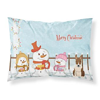 Merry Christmas Carolers Bull Terrier Brindle Fabric Standard Pillowcase
