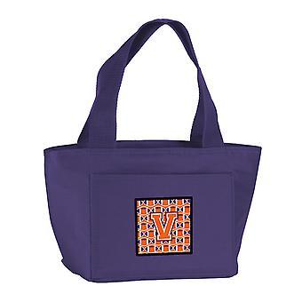 Letter V Football Orange, White and Regalia Lunch Bag
