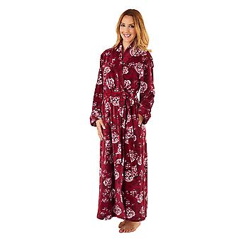 Slenderella GL8747 Women's Rasberry Red Floral Robe Long Sleeve Dressing Gown