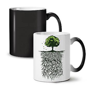 Earth Tree Roots Nature NEW Black Colour Changing Tea Coffee Ceramic Mug 11 oz | Wellcoda