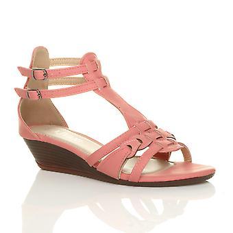 Ajvani naisten alhainen puolivälissä kiila kantapää solki gladiaattori strappy t-bar sandaalit