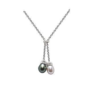 タヒチ真珠と Perle de 文化白ダイヤモンド ネックレス ホワイトゴールド大規模な 750/1000
