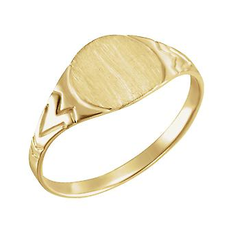 14k Yellow Gold for boys or girls Round Signet Ring 6mm size 3 - .8 Grams