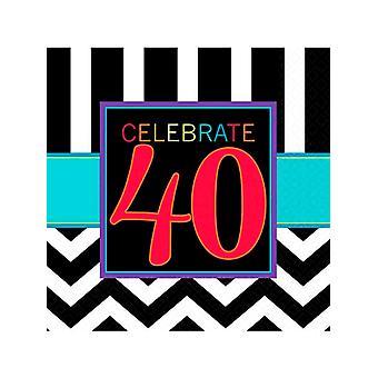 Feliz cumpleaños Chevron servilleta de diseño 40