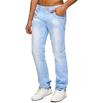 Mens Slim Fit Jeans Pants REMO Straight Cut Denim Jeans Trousers Blue W34 - W44