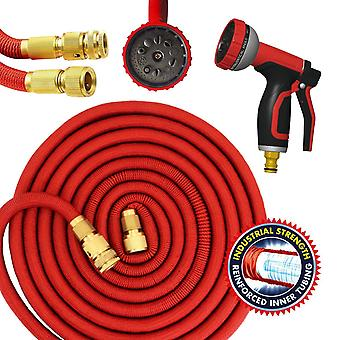 Parkland Red Garden Hose Pipe Expandable Magic Hose Stretch Hosepipe with Solid Brass Ends & 10 Function Spray Gun Double Latex Core Extra Strength Fabric (75Ft)
