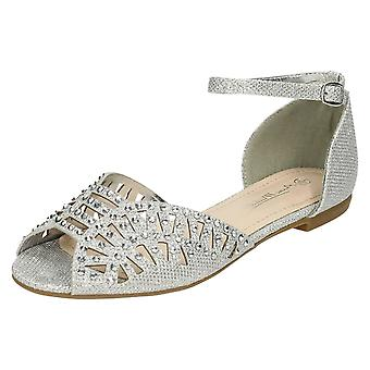 Womens Anne Michelle Flat Waisted Sandal With Diamante Trim Vamp