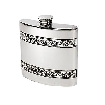 4Oz Horizontal Celtic Bands Pewter Kidney Hip Flask