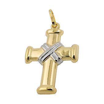 20x15mm двухцветный 9Kt Золотой крест кулон