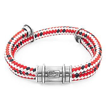 Anchor & Crew Red Dash Larne Silver And Rope Bracelet
