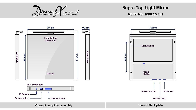 Précité, miroir lumineux Top avec capteur & rasoir socket k481
