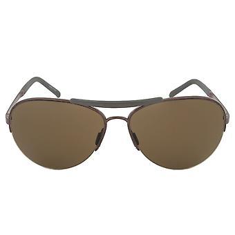 Porsche Design Design P8540 B Aviator Sunglasses | Bronze and Gunmetal Frame | Brown Lens