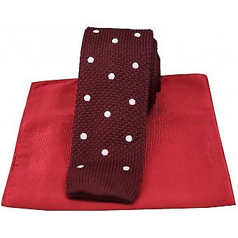 David Van Hagen Spotted Thin Knitted Silk Tie and Ribbed Handkerchief Set - Wine/White