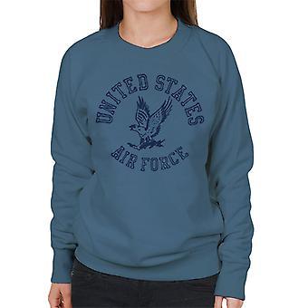 US Airforce Eagle marinblå Text kvinnors tröja