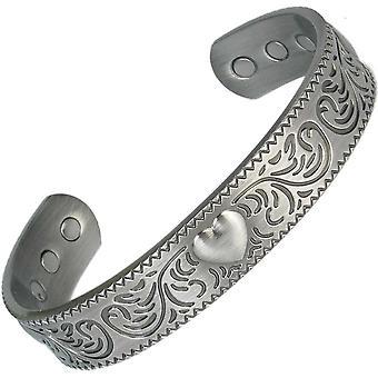 MPS® grand coeur bracelet magnétique en étain avec 6 aimants avec pochette cadeau de luxe