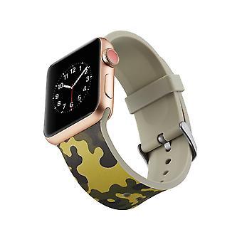 Klockrem silicone pour Apple Watch 4 3/2/1 44 mm, 42 mm-vert Camouflage