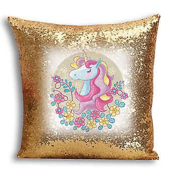 i-Tronixs - Unicorn Printed Design Gold Sequin Cushion / Pillow Cover with Inserted Pillow for Home Decor - 5