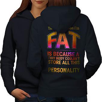 Funy Fat Happy Women NavyHoodie takaisin | Wellcoda, mitä sinä olet?