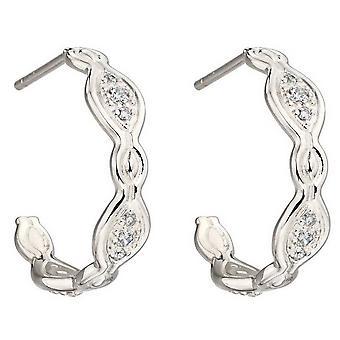 Elementen zilver Pave Hoop Earrings - zilver
