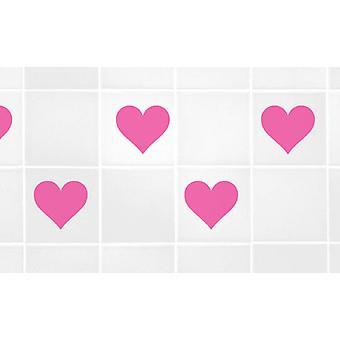 """مجموعة من 6 قلوب لبلاط 4 """"4"""" نقل ملصقات"""