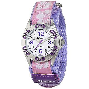 Ravel filles lilas Hibiscus facile fixer sangle Watch R1507.20