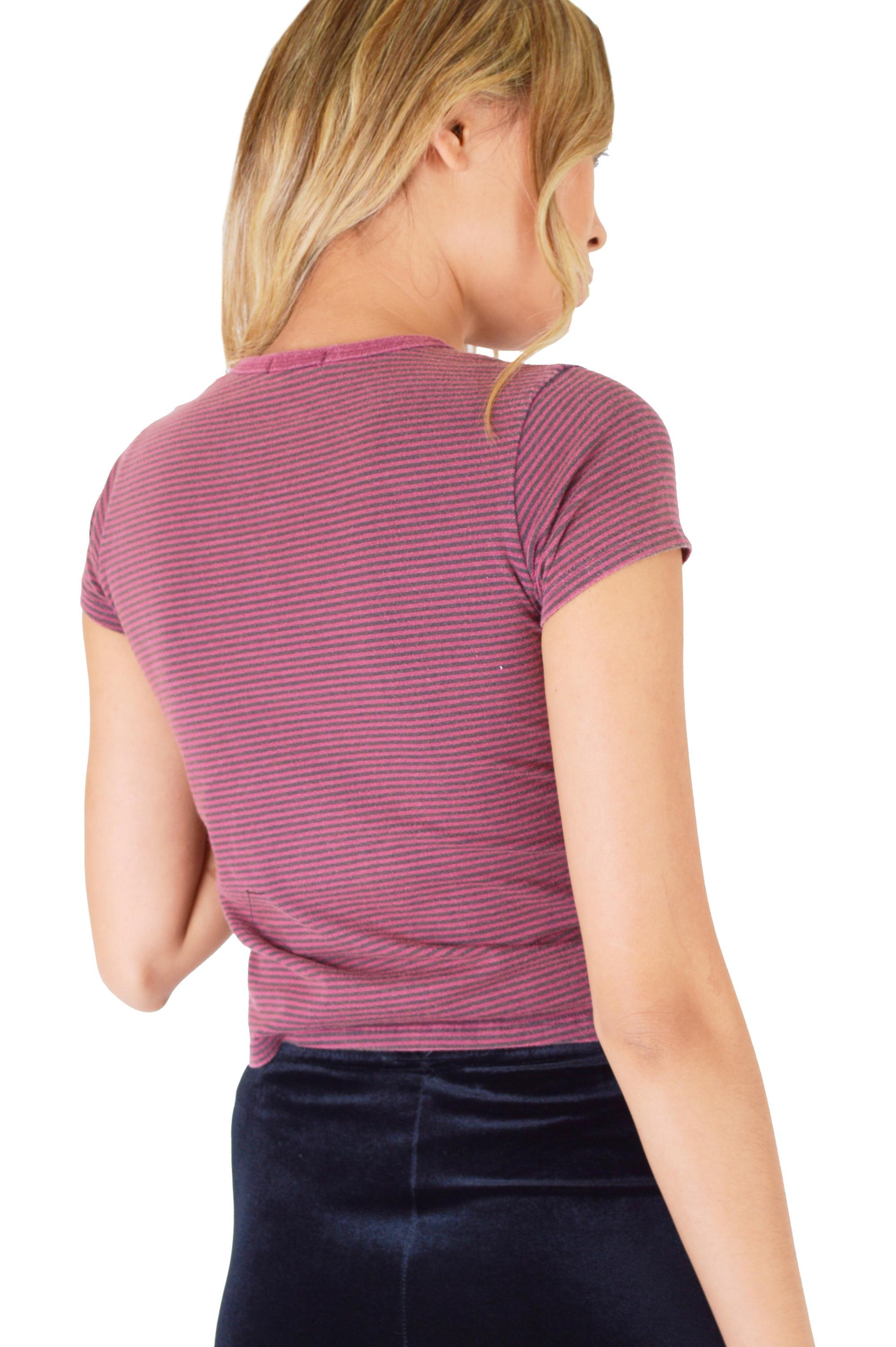 Double Agent Purple Stripe Crop T-Shirt Featuring 'Hollywood' Embroidery