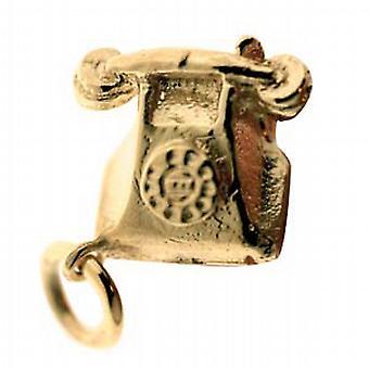 9ct الذهب 12x13mm قلادة الهاتف الصلبة أو سحر