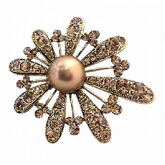 Bronze Smoked Topaz Encrusted Adorable Or Fan Pétales de fleurs Broche
