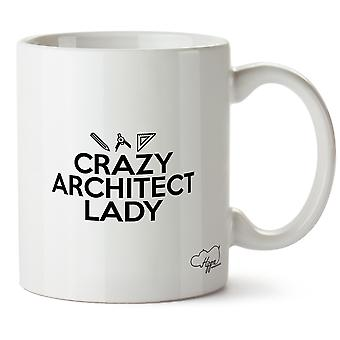 Hippowarehouse Crazy Architect Lady Ceramic, White 10 oz Mug