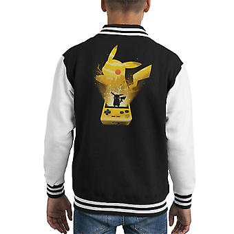 Pokemon Yellow Pikachu Silhouette Kid's Varsity Jacket