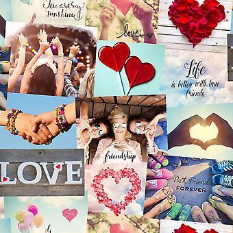Novelty Friends Wallpaper Festival Collage Girls Love Hearts Luxury Heavyweight