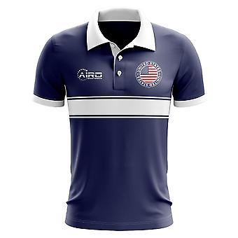 USA-Konzept-Streifen-Polo-Shirt (Navy)
