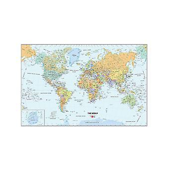 Wallpops Self själv häftande laminerad världs karta med Dry Erase penna