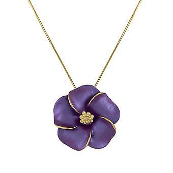 Eterna colección pensamiento púrpura esmalte dorado colgante collar
