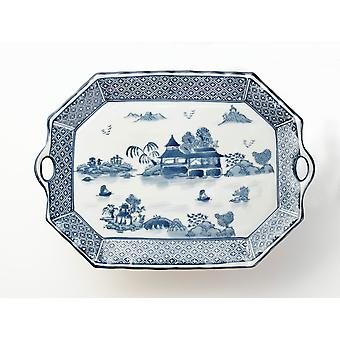 AA Importing 59716A Blue And White 18 Inch Platter