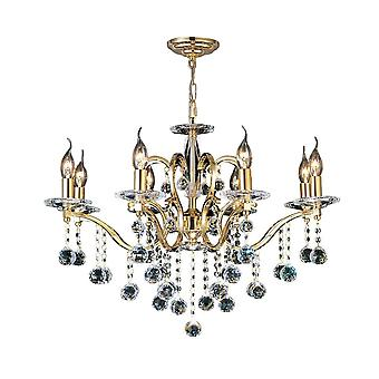 Diyas Zinta Pendant 8 Light French Gold/Crystal