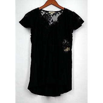 One World Top Short Sleeve Lace Detail Split Tie Neck Black A425921