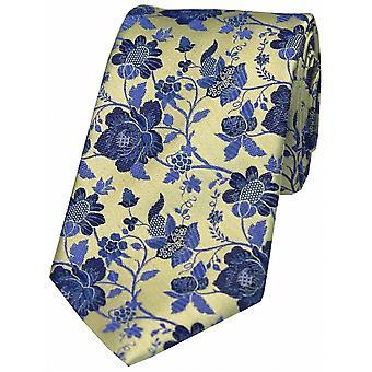 David Van Hagen Floral Patterned Silk Tie - Red/Blue