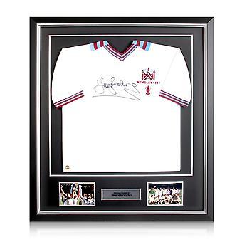 Trevor Brooking signiert West Ham United Shirt. FA Cup 1980 Im Deluxe Rahmen