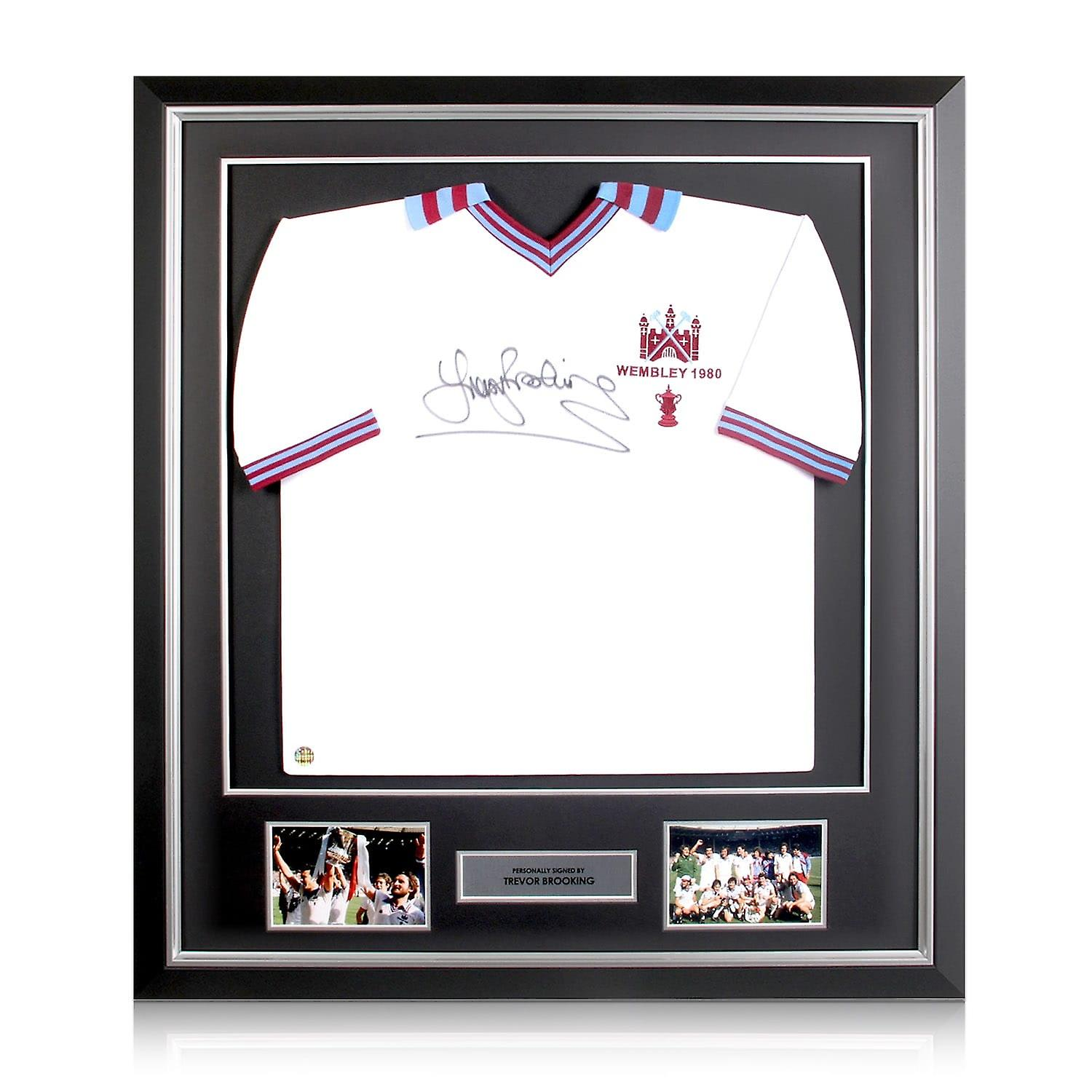 Trevor Brooking Signed West Ham United Shirt. 1980 FA Cup.  In Deluxe Frame