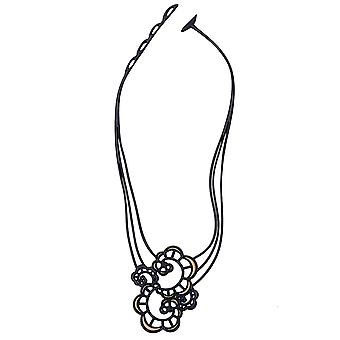 Batucada Skin Jewellery Black and Gold Japanese flower Necklace  5-01-01-02-Gold