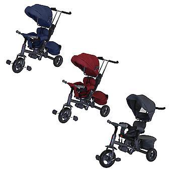 Charles Bentley Children's Trike Star 3 in 1 Trike con telaio in metallo sedile reversibile - leggero in blu / rosso / grigio