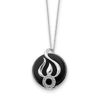 925 Sterling Silver polerad gåva boxed spring ring rodium pläterad simulerad Onyx och Cubic Zirconia Halsband 18 Tum Je