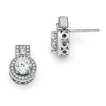 925 Sterling Silver Pave Post Earrings Rhodium plated and CZ Cubic Zirconia Simulated Diamond Brilliant Embers Earrings