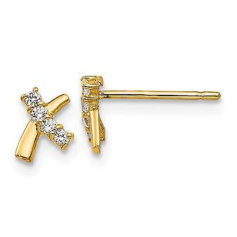 14k Gul guld poleret CZ Cubic Zirconia simuleret Diamond for drenge eller piger Post Øreringe