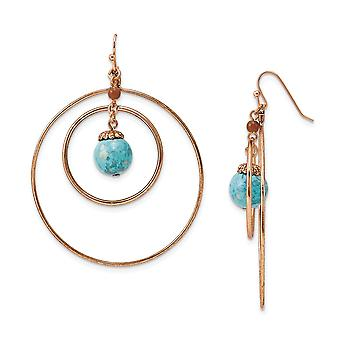 Shepherd hook Copper tone Aqua and Brown Beads Long Drop Dangle Earrings Measures 70x55mm Wide Jewelry Gifts for Women