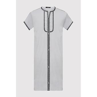 Gandoura sami boy's contrast trim short sleeve long robe thobe in grey (2-12yrs)