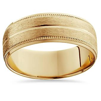 14K Yellow Gold Mens Brushed Double Line Mens Wedding Band 9mm Ring